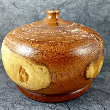 Vintage Carved Wood Mesquite Bud Vase One of a Kind Round Wide Thick Hand Carved and Crafted Artisan Made Arizona Original Beautiful Unique