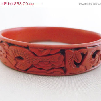 SALE Vintage Retro Chinese Cinnabar Red Carved Dragon Sea Serpent Bangle Bracelet Jewelry Gift
