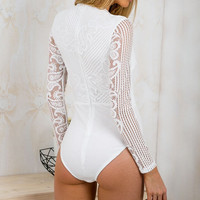 Fashion deep V lace stitching Jumpsuits