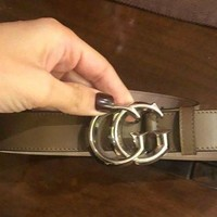 Authentic Gucci $480 Leather GG Buckle belt Taupe brown size 85,34 Made in Italy