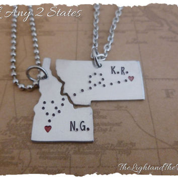 Personalized Long Distance Love - State Key Chains - USA - State - Long Distance Love - LDR - Hand Stamped - Stamped Metal Key Chain