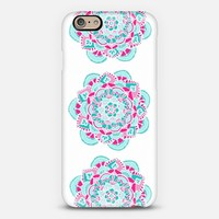 Hot Pink and Teal Mandalas on White iPhone 6 case by Tangerine- Tane | Casetify