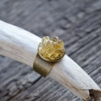 Citrine statement ring // Yellow citrine ring, rough cut citrine, jewelry boho ring, citrine mineral ring, raw mineral jewelry, boho jewelry