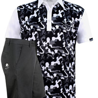 Camo Men's Golf Shirt & Golf Shorts (White/Black)