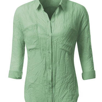 LE3NO Womens Semi Sheer Loose Button Down Shirt Blouse (CLEARANCE)
