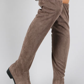 Bamboo Faux Suede Tied Flat Thigh High Boot