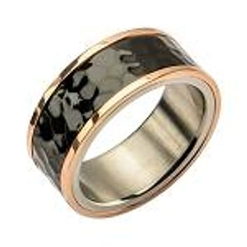 Men's 14K Rose Gold Hammered Stainless Steel Wedding Band Ring