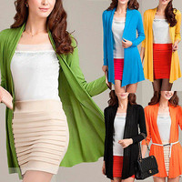Women Casual Blouse Long Sleeve Cardigan Knit Knitwear Sweater Coat Outwear Tops