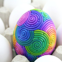 Rainbow Easter Egg in Polymer Clay Filigree Duck by StarlessClay