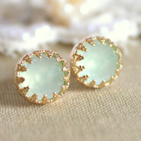 Elizabeth green mint sea foam  petite  royal  -  Real Aquamarine gem stone  Earrings vintage and Elegant style