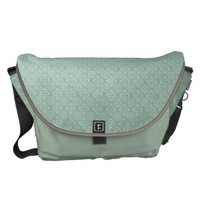 Fleur De Lis Pattern - Bright Mint and Khaki Messenger Bags