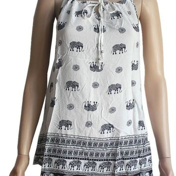 Elephant Print Top Elephants and Paisley Summer Shirt Black/White: S