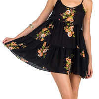 Thin Babydoll Tank Dress - Black Floral