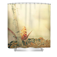 Butterfly Shower Curtain - Monarch shower curtain - Ethereal shower curtain - Gold and Yellow - Bathroom decor - nature photography
