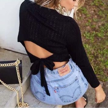 Black Tie Back Cut Out Round Neck Fashion Pullover Sweater