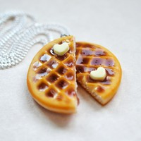 Best friend BFF Waffle Necklace Set