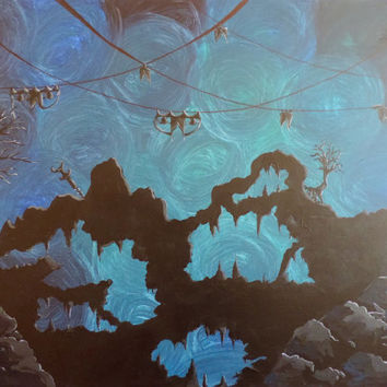 Acrylic Painting on Canvas, Fantasy, Surreal, Fairytale, Sci-Fi Wall Art , Dreamscape Painting, wall decor, Underwater Alien Cave Dreamworld