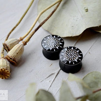 Pair plugs Geometric black mandala image ear wooden 6,8,10,12,14,16,18,20,22-60mm;6g,4g,2g,0g,00g;1/4,5/16,3/8,1/2,9/16,5/8,3/4,7/8,1 1/4""