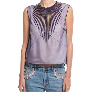 Marc Jacobs Beaded Tulle Crop Top | Neiman Marcus