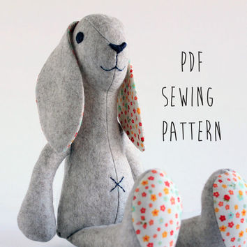 Bunny Rabbit pattern, sew your own soft toy Bunny - instant download pdf pattern - sewing projects