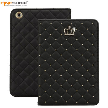 Fineshow Fashion Crown Bling Diamond Protective Case for iPad Air Stand Leather Folio Smart Cover for Apple iPad Air Tablet Case