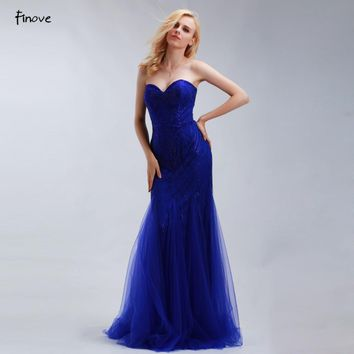 Finove Royal Blue Mermaid Evening Dresses Long 2017 New Style Beaded Sweetheart Elegant Prom Gowns Robe de Soiree