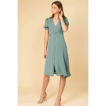 Sage You Love Me   Button Front Puff Sleeve Midi Dress
