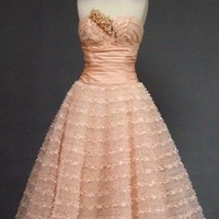 Emma Domb Pink Lace, Taffeta & Tulle Strapless 1950's Prom Dress VINTAGEOUS VINTAGE CLOTHING