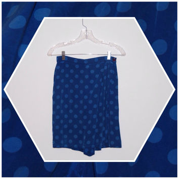 Vintage '90s Blue Polka Dot High Waisted Wrap Skort - 100% Silk - Size 8P