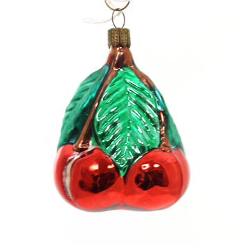 Holiday Ornaments Group Of Cherries Glass Ornament