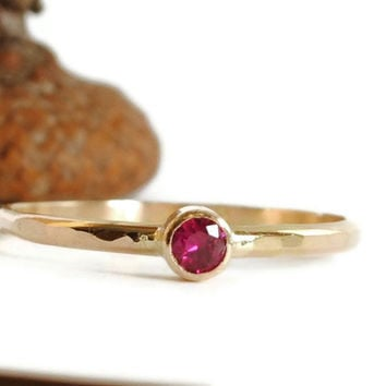 Genuine Ruby Ring 14k Solid Gold Handmade by DalkullanJewelry