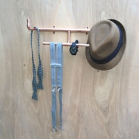 Copper Fashion Accessories Rack, Industrial Design Jewelry Organizer Jewelry Rack, Hat Rack, Modern Wall Storage Towel Rack Steampunk Design