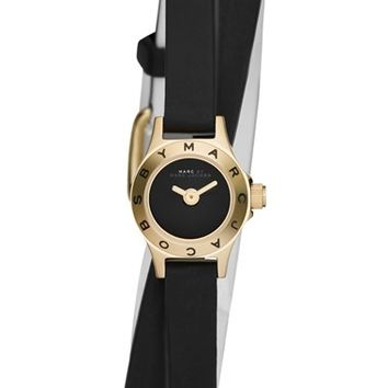 Women's MARC BY MARC JACOBS 'Super Dinky Blade' Silicone Strap Wrap Watch, 15mm - Black/ Gold