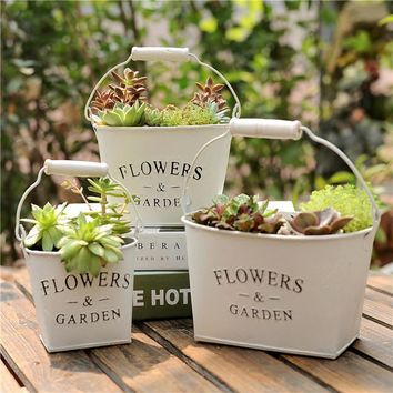 Zakka Metal Iron Flower Pot Hanging Balcony Garden Plant Planter Home Table Decorative