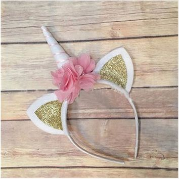 Unicorn Horn Headband with Glitter Ears and Flower Accents with Gold Stripe