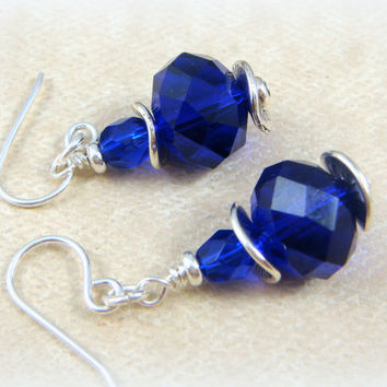 Blue and Silver Earrings -  Cobalt Blue and Silver Earrings - Royal Blue Earrings - Cobalt Blue Earrings
