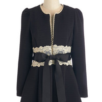 ModCloth Vintage Inspired, French Long Long Sleeve Virtues of Victorian Vogue Coat in Noir
