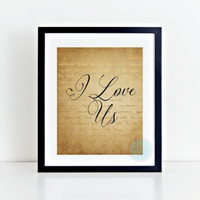 PRINTABLE ART I Love Us Typography Art Handlettered Print Wedding Art Print Love Art Print Marriage Art Print Home Decor Apartment Decor