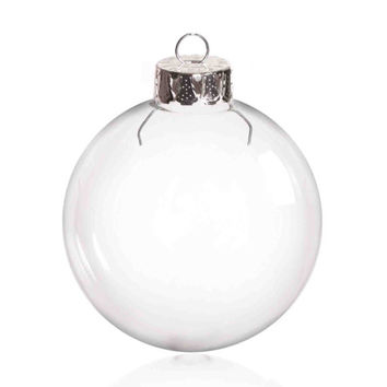 5 Pieces x DIY Paintable 2.6 Inch (66mm) Christmas Decoration Clear Glass Round Ornament/Ball With a Silver Cap