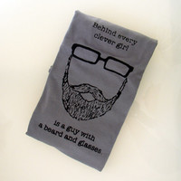 Behind Every Clever Girl is a Guy with a Beard and Glasses TSHIRT (slate - men's XL)