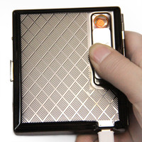 Lighter Cigarette case windproof electronic cigarette lighter silver metal Cigarette Box with rechargeable USB Hold 17pcs