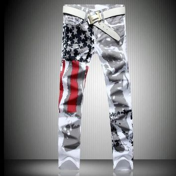 Mens Fashion Jeans American Flag Stamp White Leisure Jeans Pomo Personality Slim Fit Jeans Painted Print Jeans Size 28 46 - Ready Stock