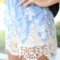 Chambray Lace Shorts