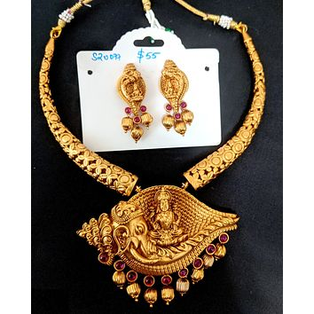 Temple jewelry - Bold Goddess Lakshmi n Lord Ganesha Pendant Choker necklace and earring set