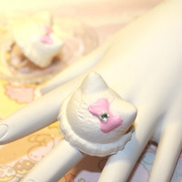 Kawaii Hello Kitty Vanilla Ice Cream sweet Lolita ring