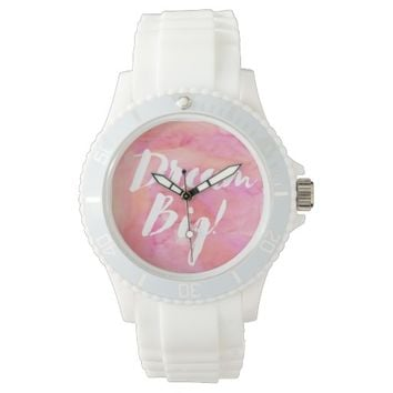 Pink and Orange Watercolor Dream Big Wrist Watch