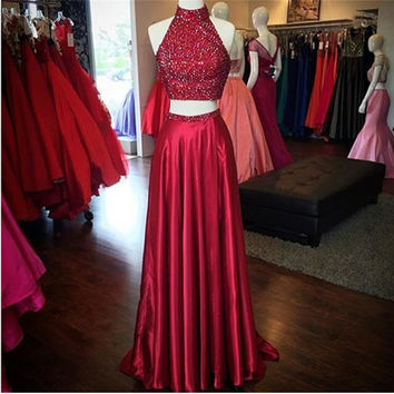 Burgundy Color Halter Floor Length A-Line Off Shoulder Prom Dress Burgundy Formal Gowns Custom Made Two Pieces 2 Sequins 2017