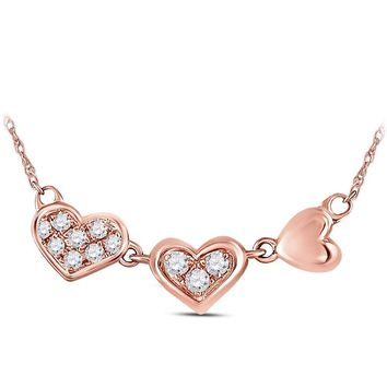 14kt Rose Gold Womens Round Diamond Triple Heart Pendant Necklace 1/10 Cttw
