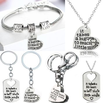 Love Heart Necklace For Teachers Plant Seeds That Grow Forever Teachers Gifts Pendants Keychain Chain Necklace Charm Keyring