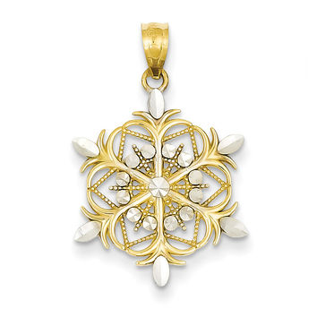 14k & Rhodium Diamond-cut Snowflake Pendant K3190